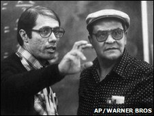 Edward James Olmos and Jaime Escalante on the set of Stand and Deliver