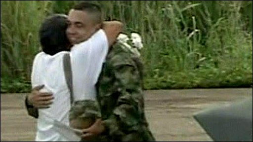 Sgt Pablo Emilio Moncayo is reunited with his father