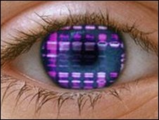 An eye reflecting a DNA autoradiogram