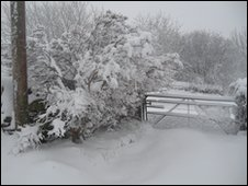 Snow near the village of Deiniolen, Gwynedd