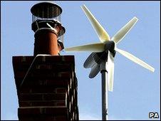A mini wind turbine and a chimney top
