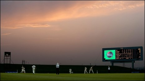 Durham v MCC in Abu Dhabi under a red night's sky