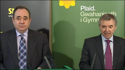 SNP leader Alex Salmond with Plaid Cymru leader Ieuan Wyn Jones