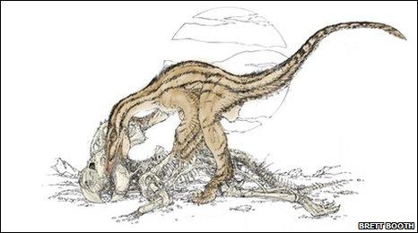Artist's impression of Velociraptor scavenging Protoceratops