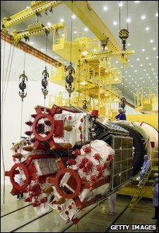 Glonass satellite at Baikonur Cosmodrome in December 2009 (Getty)
