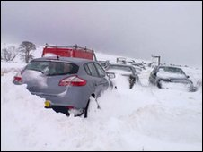 Cars abandoned at the Glenshane Pass