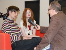 Matt Smith and Karen Gillan speaking to Alfie Joey