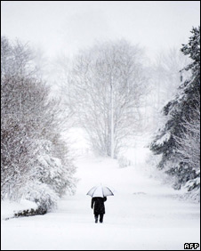 Man walking in snow in Penicuick