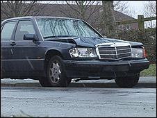 Crashed car after it was returned
