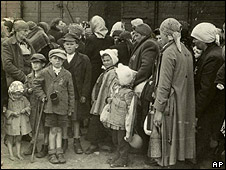 Jewish people are processed on arrival at Auschwitz