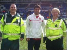 Arsenal striker Eduardo meets the West Midlands paramedics who treated him