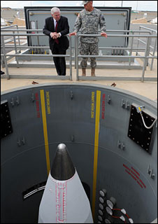 US Secretary of Defense Robert Gates at a ground-based interceptor missile silo at Fort Greely, Alaska, 1 June 2009. DoD photo by Master Sgt Jerry Morrison, US Air Force