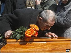 A funeral of one of Moscow's blast victims in Chekhov, near Moscow