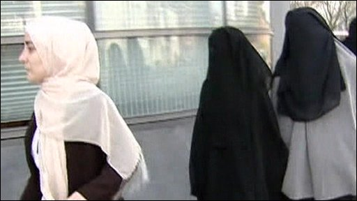 Woman wearing veils