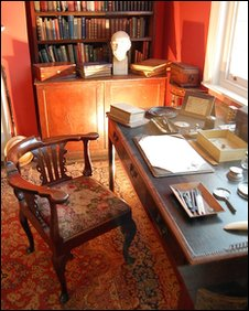 A recreation of Thomas Hardy's study at Dorset County Museum