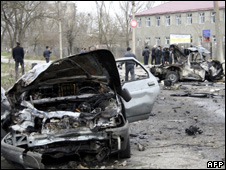 Aftermath of the bombings in Kizlyar