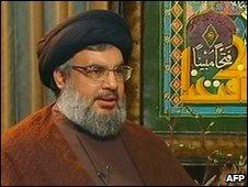 Hassan Nasrallah appearing on al-Manar TV
