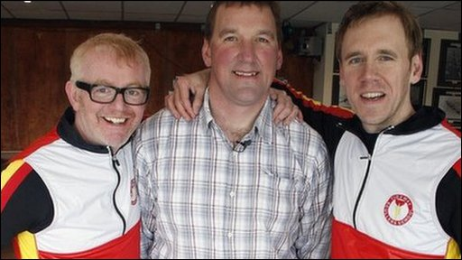 Chris Evans and Jonny Saunders with four-time olympic gold medal winner Sir Matther Pinsent