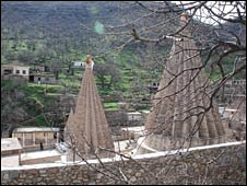 The Yaezidi main shrine high in the hills of Iraqi Kurdistan, at Lalish (image: Tim Mansel)