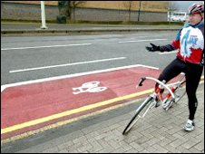Kevin Hughes with the short stretch of 'cycle lane' markings