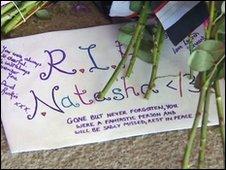 Floral tributes at entrance to Lanark Grammar