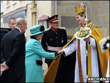 The Right Reverend Nigel Stock with the Queen and Prince Phillip