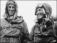 Edmund Hillary and Tenzing Norgay, in 1953