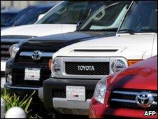 Toyota vehicles on sale at US dealership