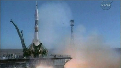 The Soyuz shuttle has lifted-off from the Baikonur space station in southern Kazakhstan