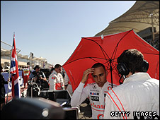 Lewis Hamilton on the grid before the Bahrain Grand Prix