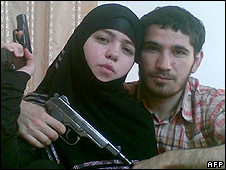 Suspected bomber Dzhennet Abdurakhmanova posing with her husband Umalat Magomedov, killed in Dec 09