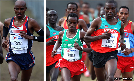 Farah came in 21st, while Ebuya secured victory for Kenya in Poland