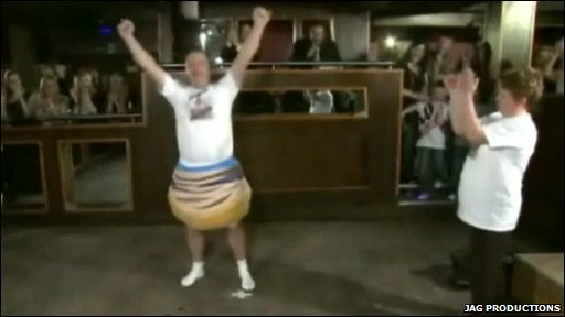 Gary Craig celebrates after donning 211 pairs of underpants