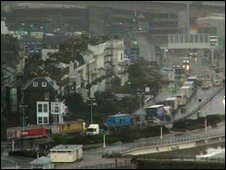 Lorries queuing at the Port of Dover