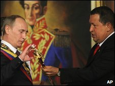 Mr Putin was given a replica of a sword used by independence hero Simon Bolivar
