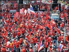 Anti-government protesters in Bangkok, 3 April 2010