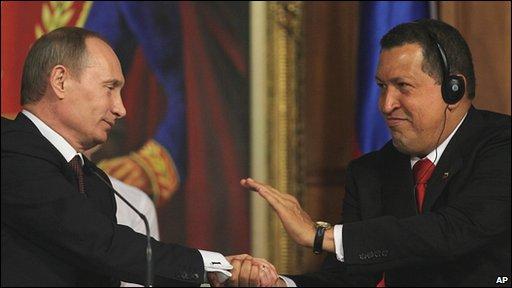 Russian Prime Minister Vladimir Putin and Venezuelan President Hugo Chavez