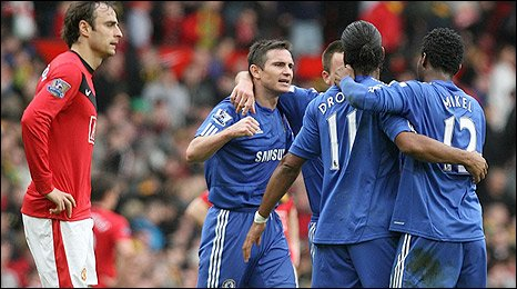Chelsea celebrate their decisive second goal