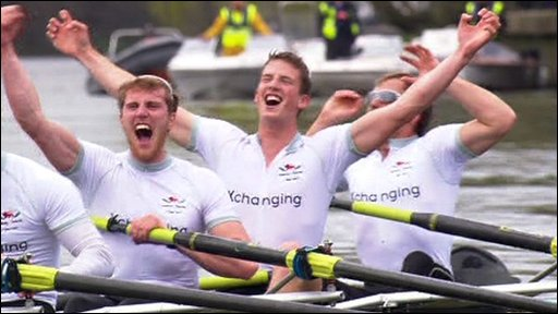 Cambridge celebrate winning 2010 Boat Race