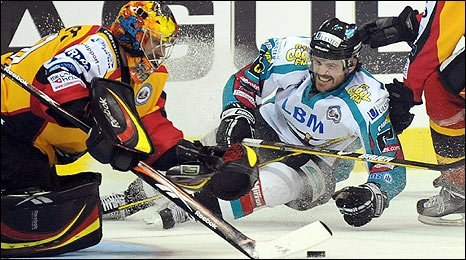 Kevin St-Pierre of the Nottingham Panthers in action against Brandon Benedict of the Belfast Giants