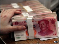 Stacks of 100 yuan notes