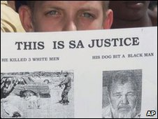 A young Afrikaner Resistance Movement supporter protests outside court while awaiting the arrival of Eugene Terreblanche in 2000