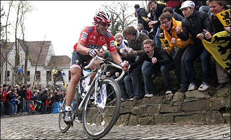 Fabian Cancellara on the cobbled streets of the Tour of Flanders
