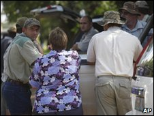 Followers of the Afrikaner Weerstandsbeweging (AWB) leader Eugene Terreblanche gather in Ventersdrop, 140km West of Johannesburg, South Africa, Sunday April 4, 2010.