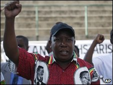 African National Congress Youth League leader Julius Malema, at a rally in Harare in neighboring Zimbabwe Saturday, April 3, 2010.