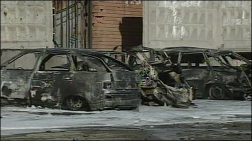 Cars damaged in the bomb blast