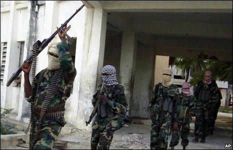 Al Shabaab fighters on the streets of the Somali capital, Mogadishu