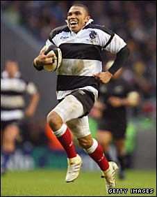 South Africa speedster Bryan Habana in action for the Barbarians