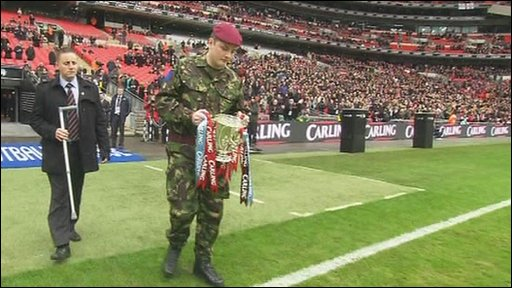Pte Tatlock carries out Carling Cup trophy