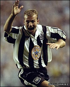 Alan Shearer celebrates a goal for Newcastle